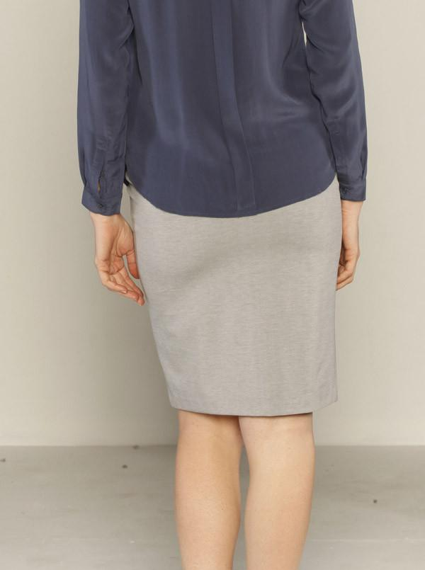 Angel Maternity Straight Cut Ponti Work Skirt in Silver Grey
