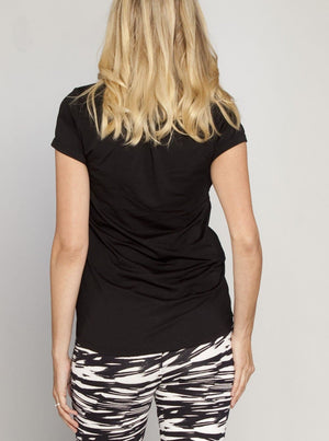 LOVE Foot Print Short Sleeve Tee - Black - Angel Maternity - Maternity clothes - shop online