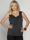 Angel Maternity Sleeveless Chiffon Dressy Top - Black