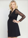 Angel Maternity V-Neck Chiffon Evening Dress in Midnight Black