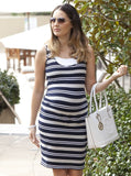 Angel Maternity Basic Nursing Tank Dress - Grey & Navy Stripes