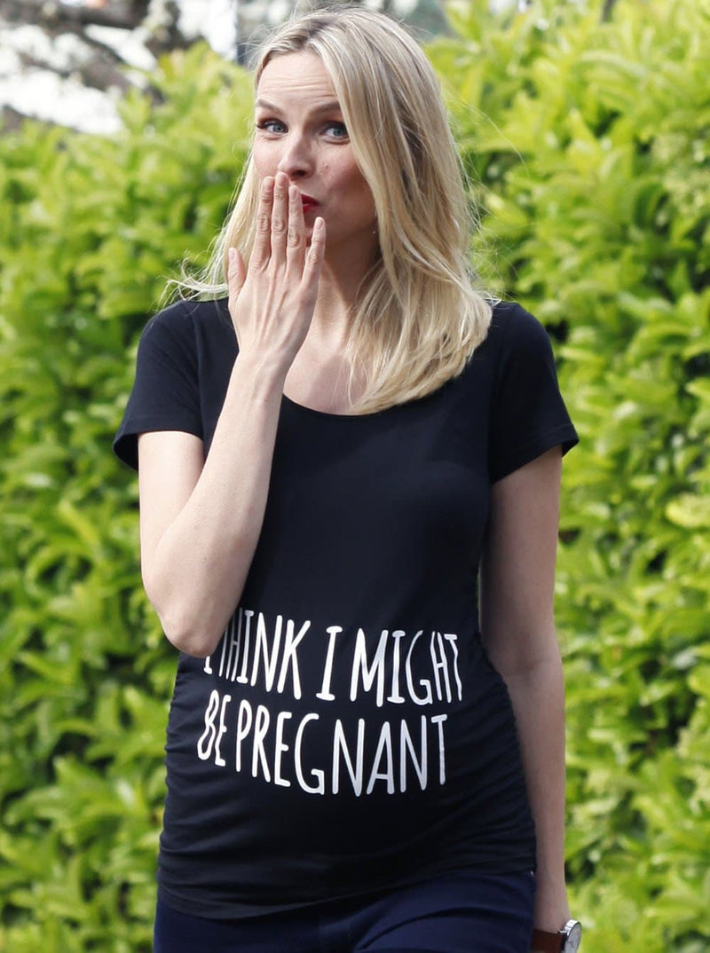 Basic Maternity Slogan Fitted Tee - I Think I might Be Pregnant - Angel Maternity - Maternity clothes - shop online