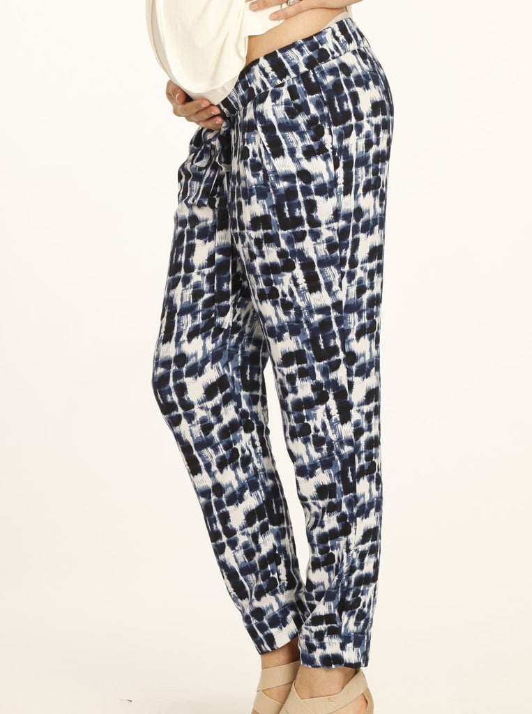 Angel Maternity Comfortable Maternity Harem Pants in Blue Dots Print