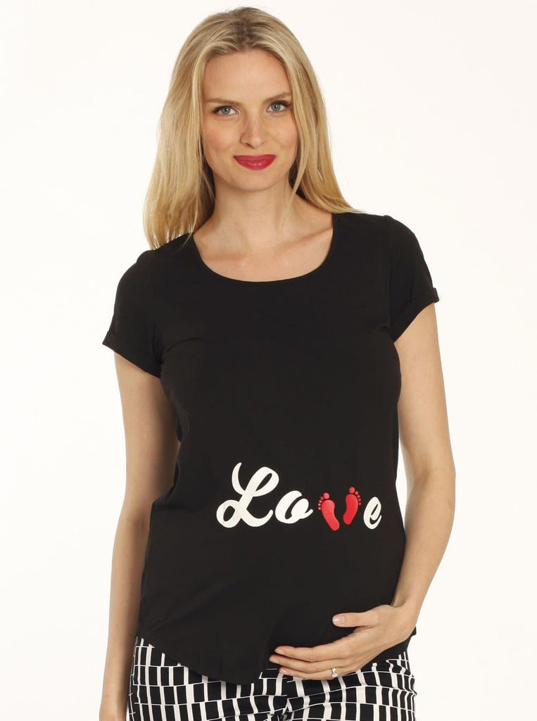 "Angel Maternity ""LOVE"" Foot Print Short Sleeve Tee - Black"