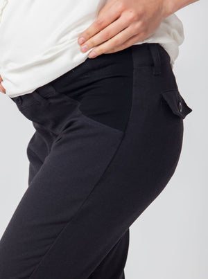Angel Maternity Pants in Straight Slim Leg - Dark Grey