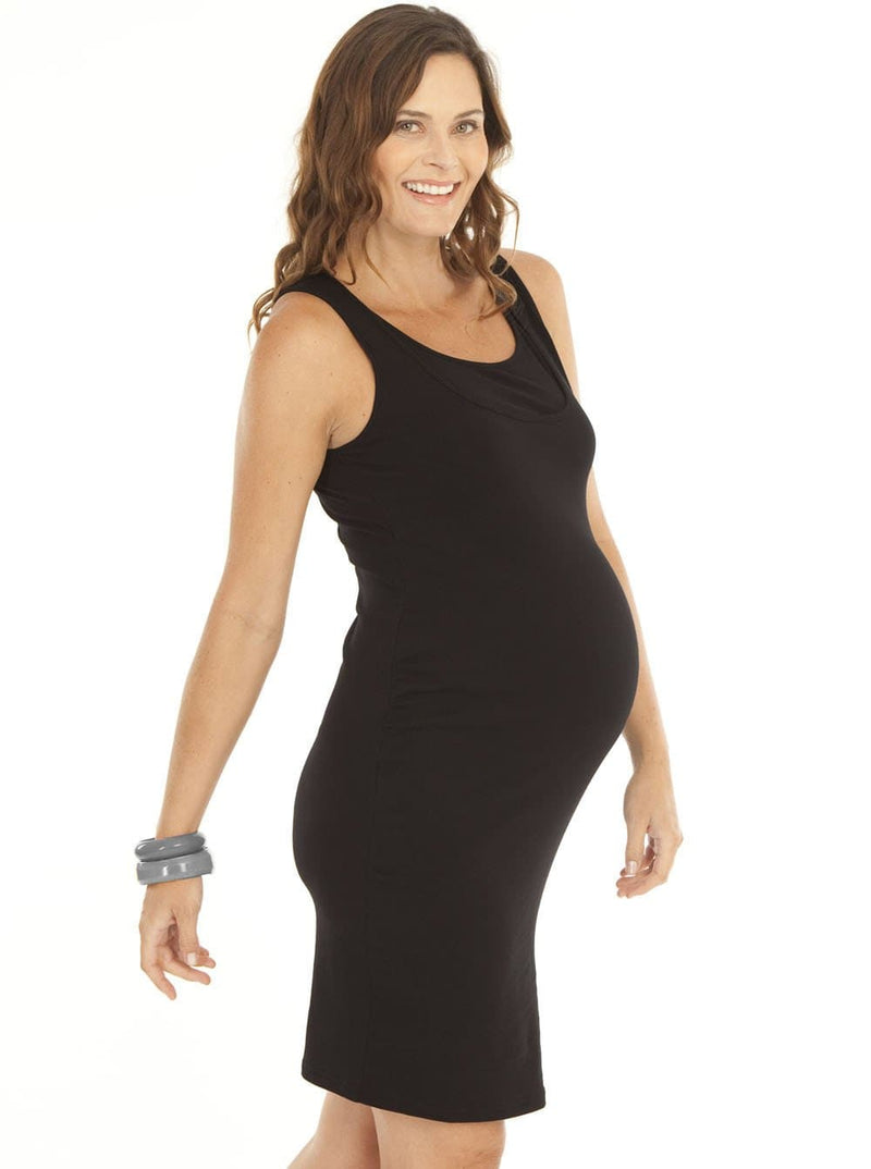 Breastfeeding Classic Cotton Nursing Tank Dress in Black - Angel Maternity - Maternity clothes - shop online