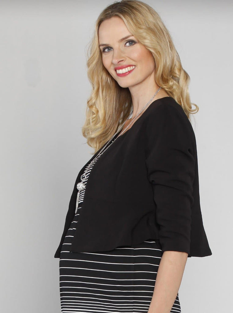 Angel Maternity Maternity Cropped Evening Jacket - Black/ White