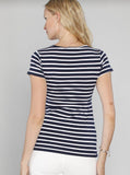 Angel Maternity Maternity Basic Nursing Tee in Navy Stripes