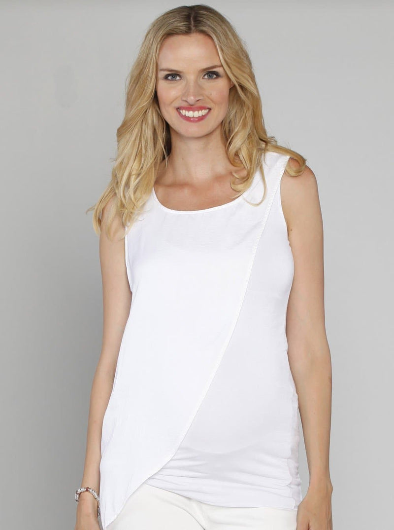Maternity Slimming Draped Top in White/ Black