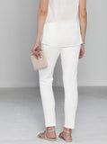 Angel Maternity Fitted Cotton Twill Cropped Pants in White