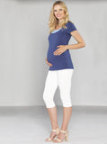 Fitted Cotton Twill Cropped 3/4 Shorts - White - Angel Maternity - Maternity clothes - shop online