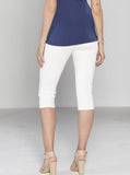Angel Maternity Fitted Cotton Twill Cropped 3/4 Shorts - White