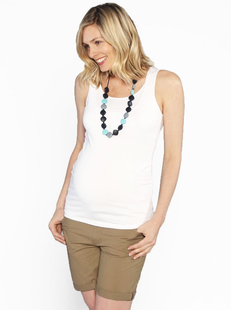 Casual Summer Cotton Shorts - Tan - Angel Maternity - Maternity clothes - shop online