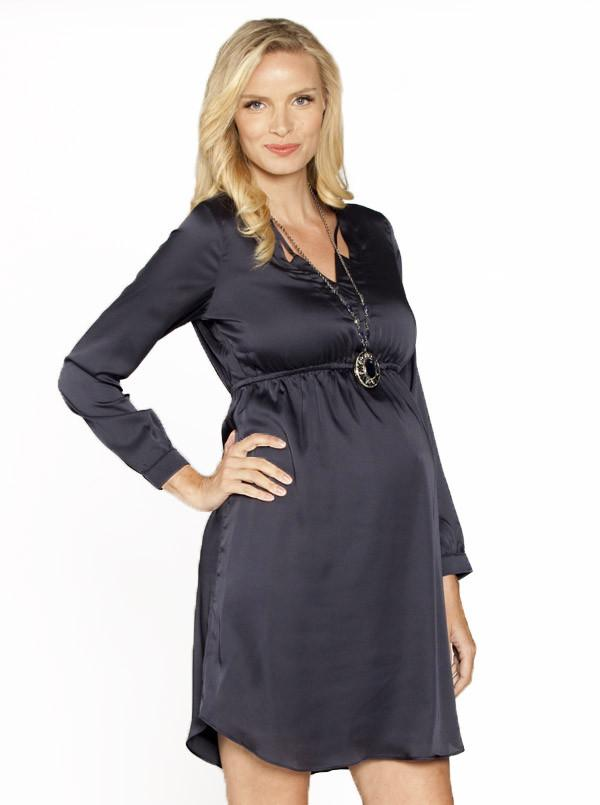 Maternity Evening Dress with V Neckline Details- Gun Metal