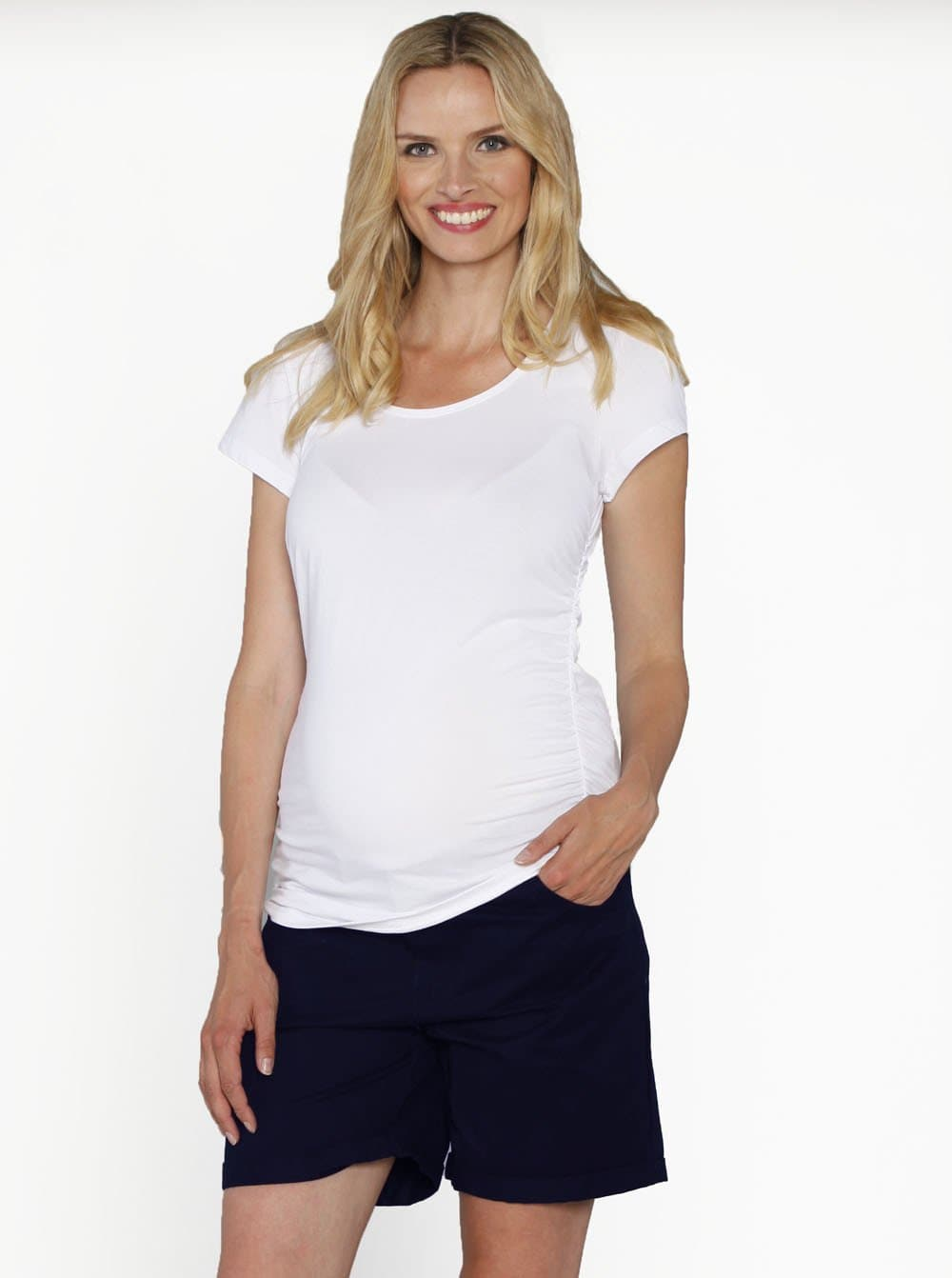 Casual Summer Cotton Shorts - Navy - Angel Maternity - Maternity clothes - shop online