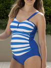 Angel Maternity Maternity One Piece Swimwear in Blue Stripes