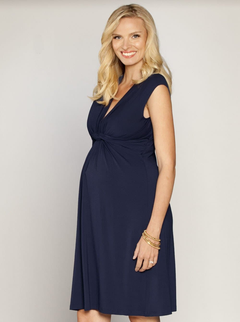Irene Maternity Front Knot Knee Length Dress - Navy - Angel Maternity - Maternity clothes - shop online