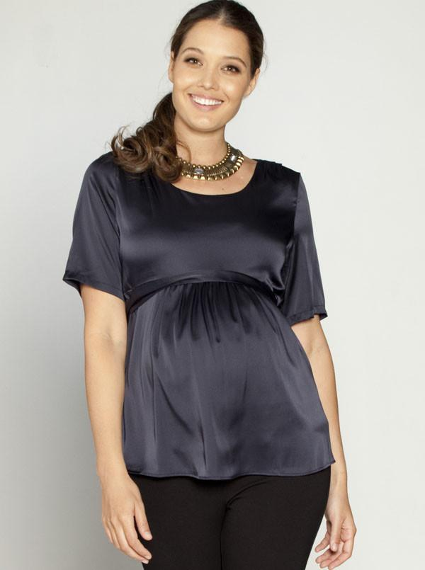 Angel Maternity Tie Back Dressy Short Sleeve Top - Gun Metal