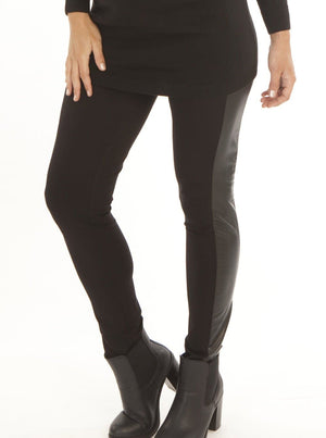 Maternity Faux Leather Stretchy Slim Fitted Pants/ Legging - Black - Angel Maternity - Maternity clothes - shop online