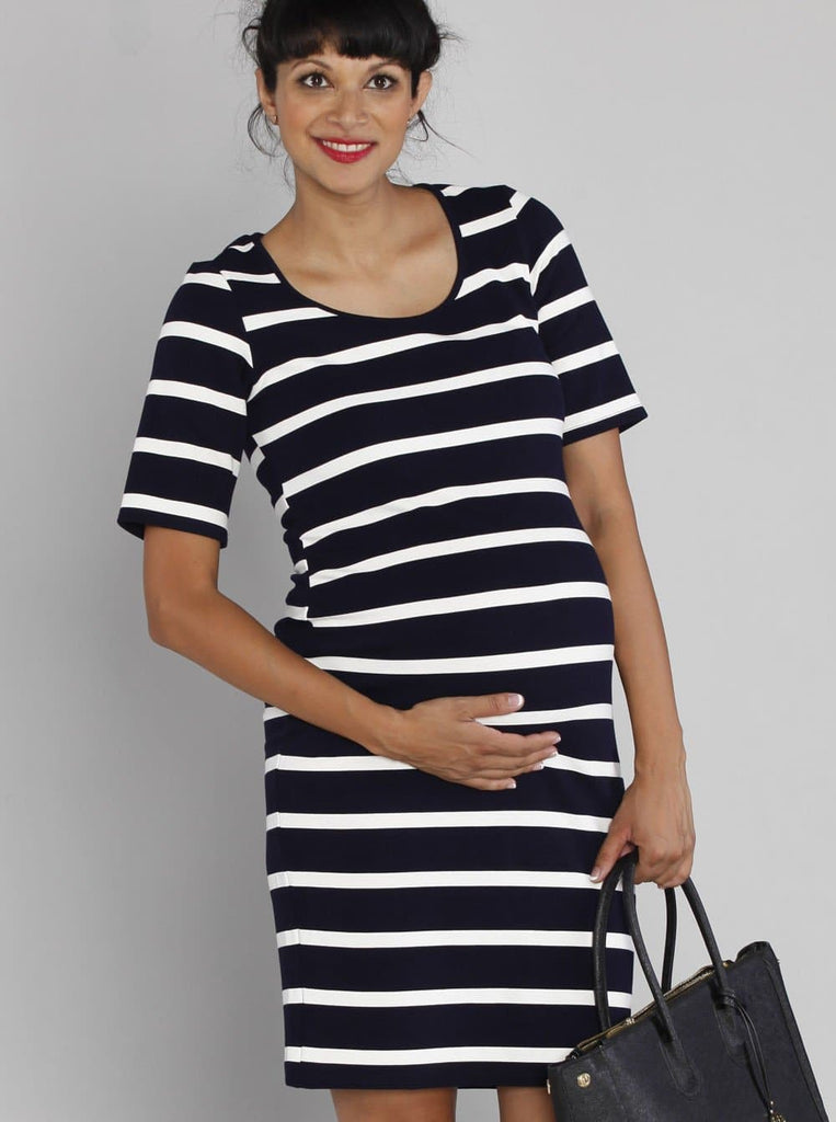 Angel Maternity Fitted Stripe Ponti Dress - Navy & White