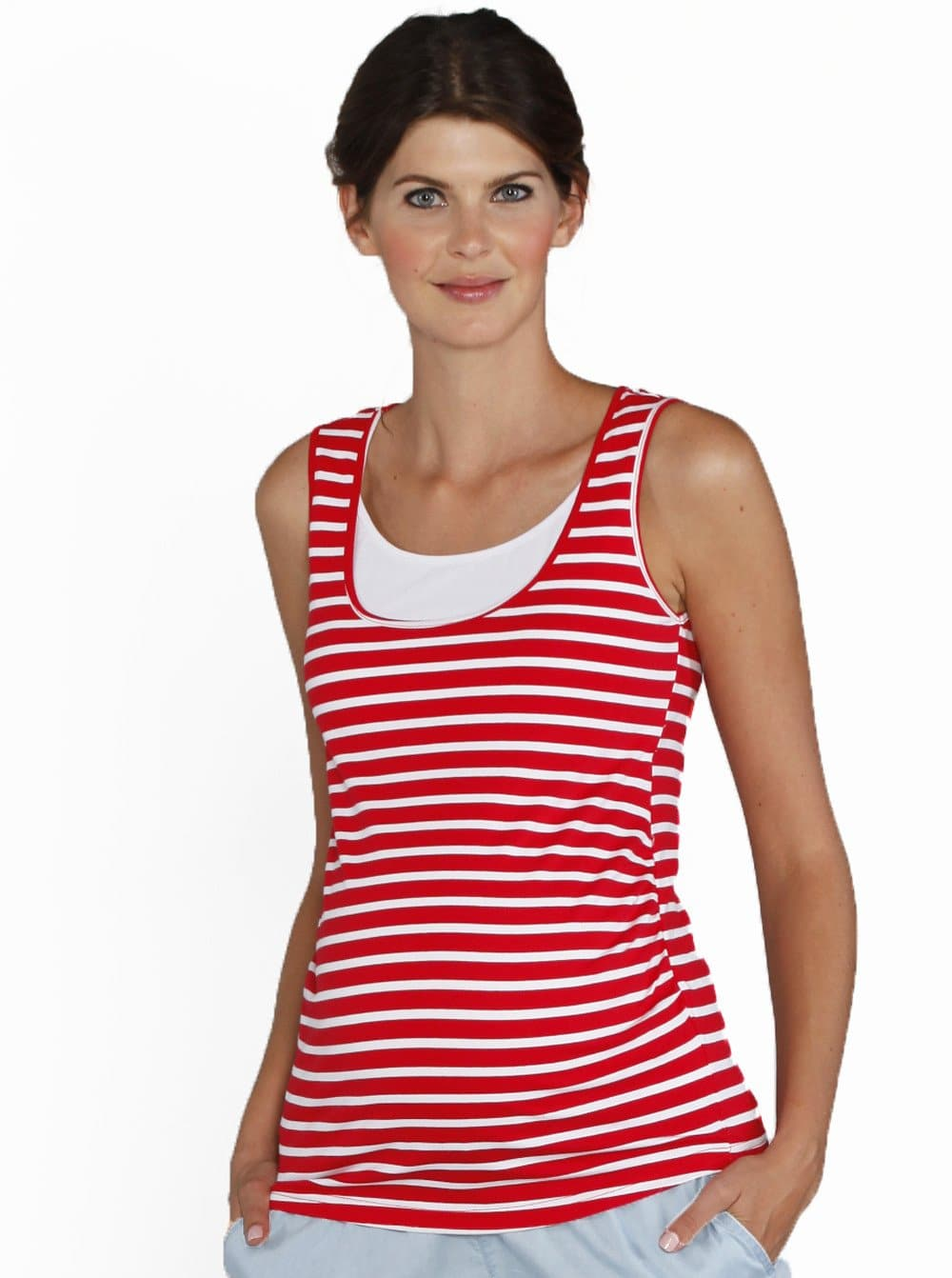 Basic Breastfeeding Nursing Tank in Red Stripes - Angel Maternity - Maternity clothes - shop online