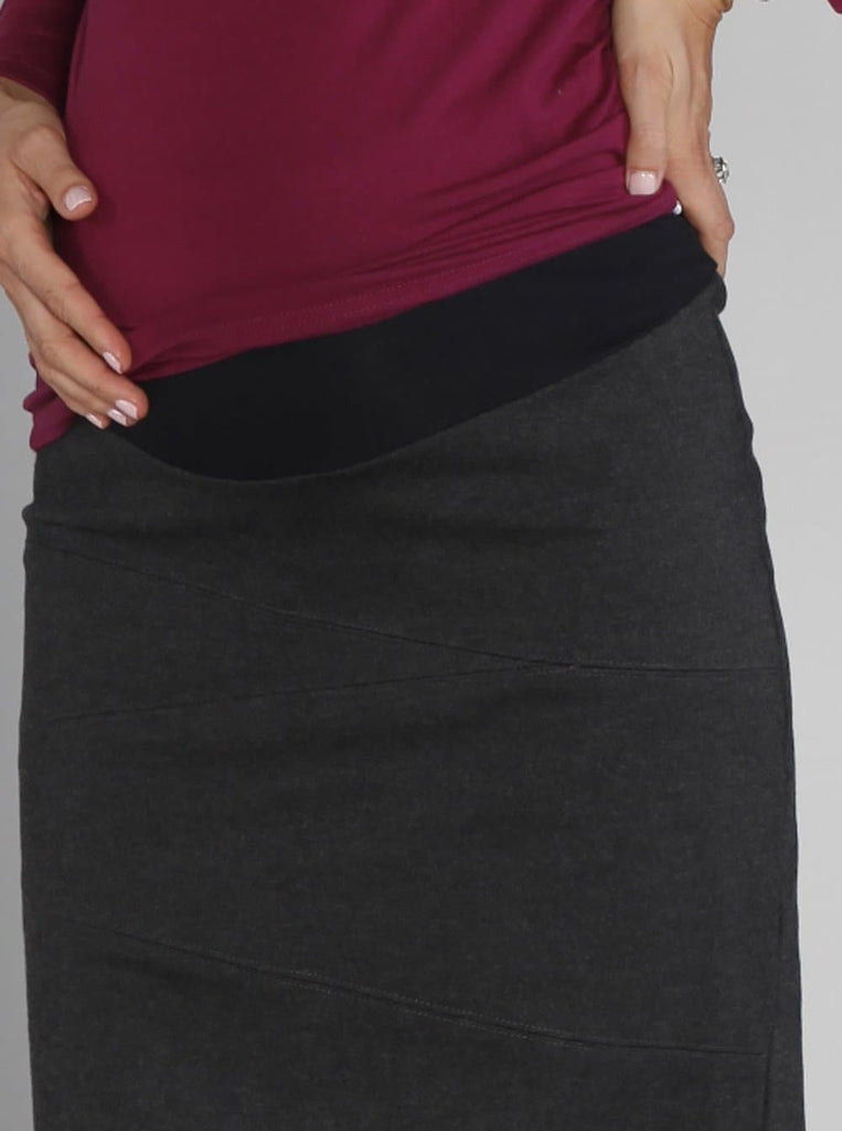 Angel Maternity Ponti Fitting Winter Skirt - Charcoal