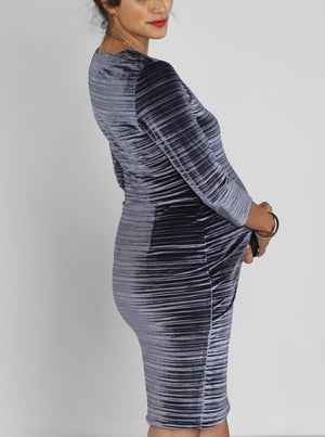 Maternity Long Sleeve Fitted Party Dress -Silver Velvet - Angel Maternity - Maternity clothes - shop online