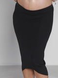 Angel Maternity Soft Mid Length Ribbed Skirt - Black