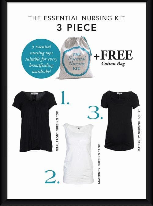 Breastfeeding Essential Nursing Kit - Black & White - Angel Maternity - Maternity clothes - shop online