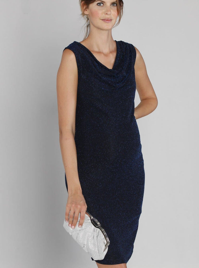Angel Maternity Cowl Neckline Sparkly Party Dress - Navy