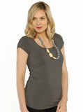 Angel Maternity Maternity Basic Nursing Tee - Grey