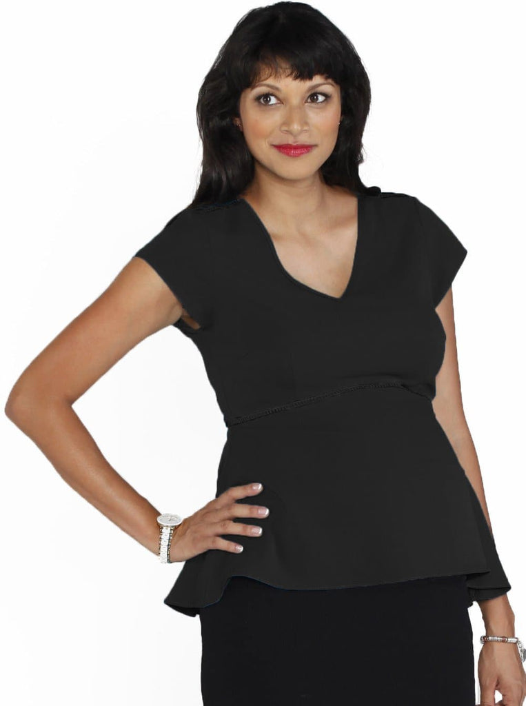 Angel Maternity Dressy Short Sleeve Chiffon Top - Black/ White