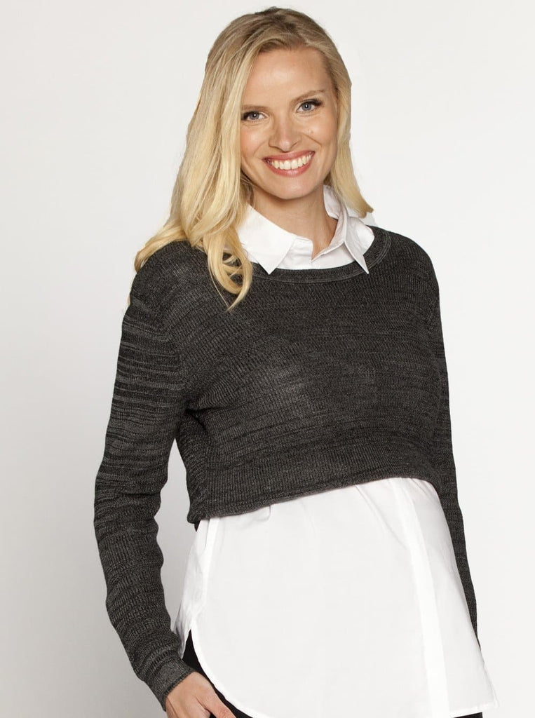 Maternity Cropped Knit Jumper Top - Salt & Pepper - Angel Maternity - Maternity clothes - shop online