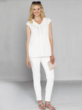 Maternity Fitted Cotton Twill Cropped Pants in White
