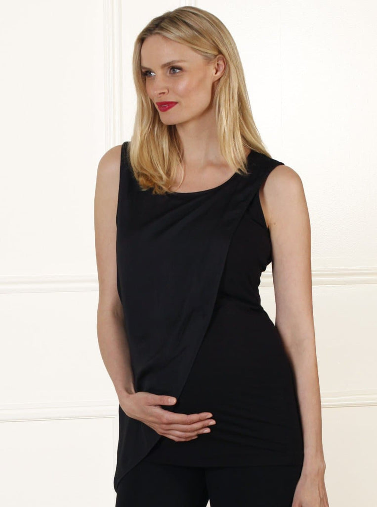 Angel Maternity Slimming Draped Top in White/ Black