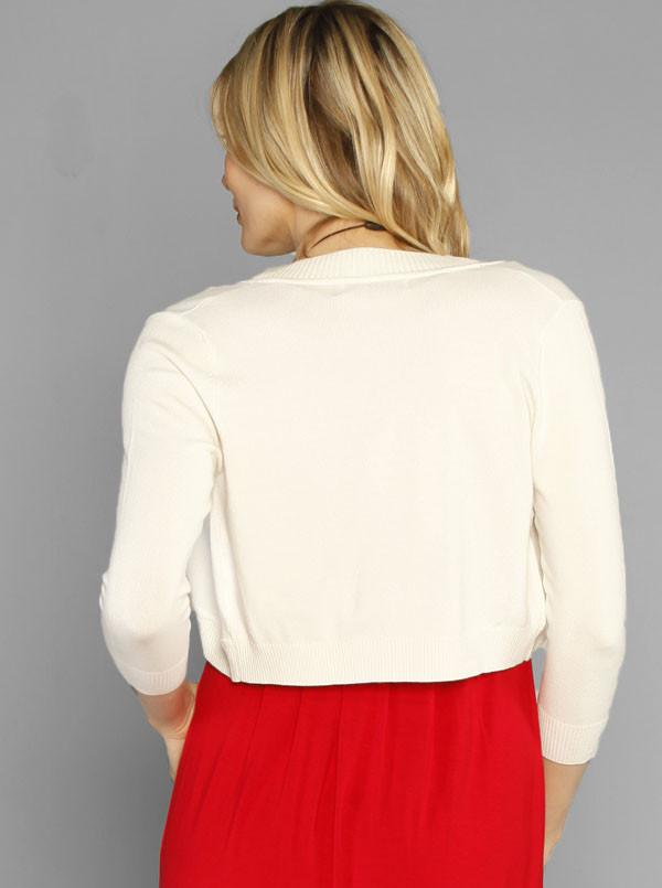 Little Knit Mid Length Sleeve Bolero - Red/ Blue/ Ivory - Angel Maternity - Maternity clothes - shop online