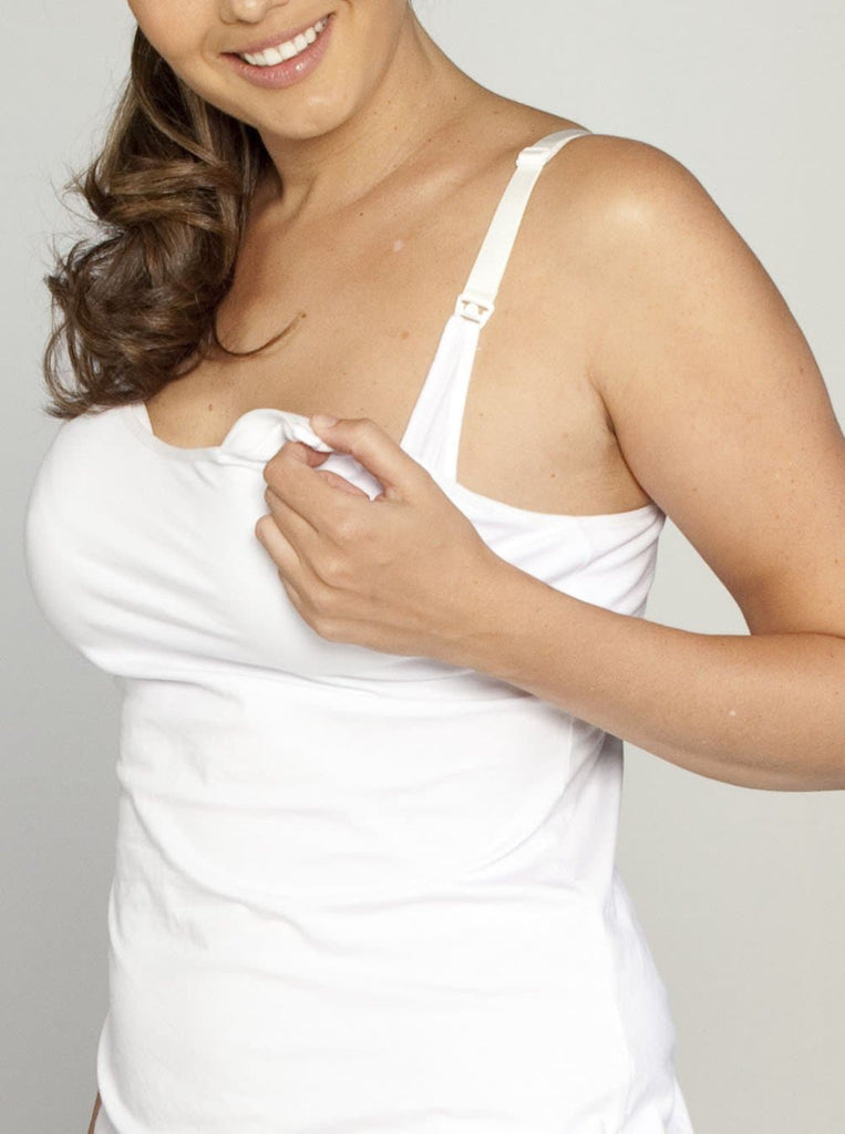 Basic Nursing Singlet with built-in bra in White/ Black - Angel Maternity - Maternity clothes - shop online