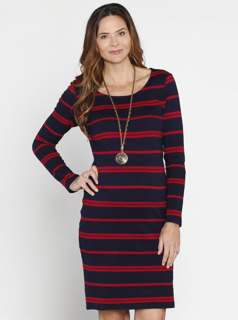 Angel Maternity Knee Length Winter Dress - Navy & Red Stripes