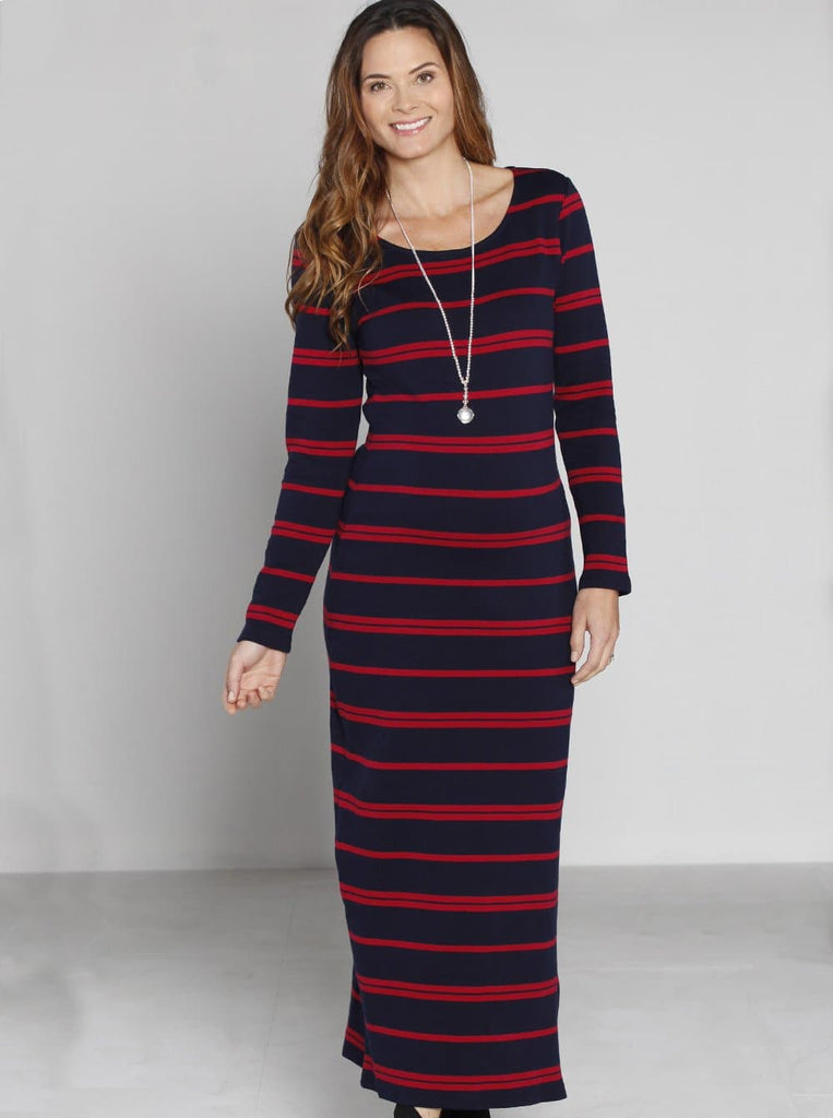 Angel Maternity Maxi Long Winter Dress - Navy & Red Stripes