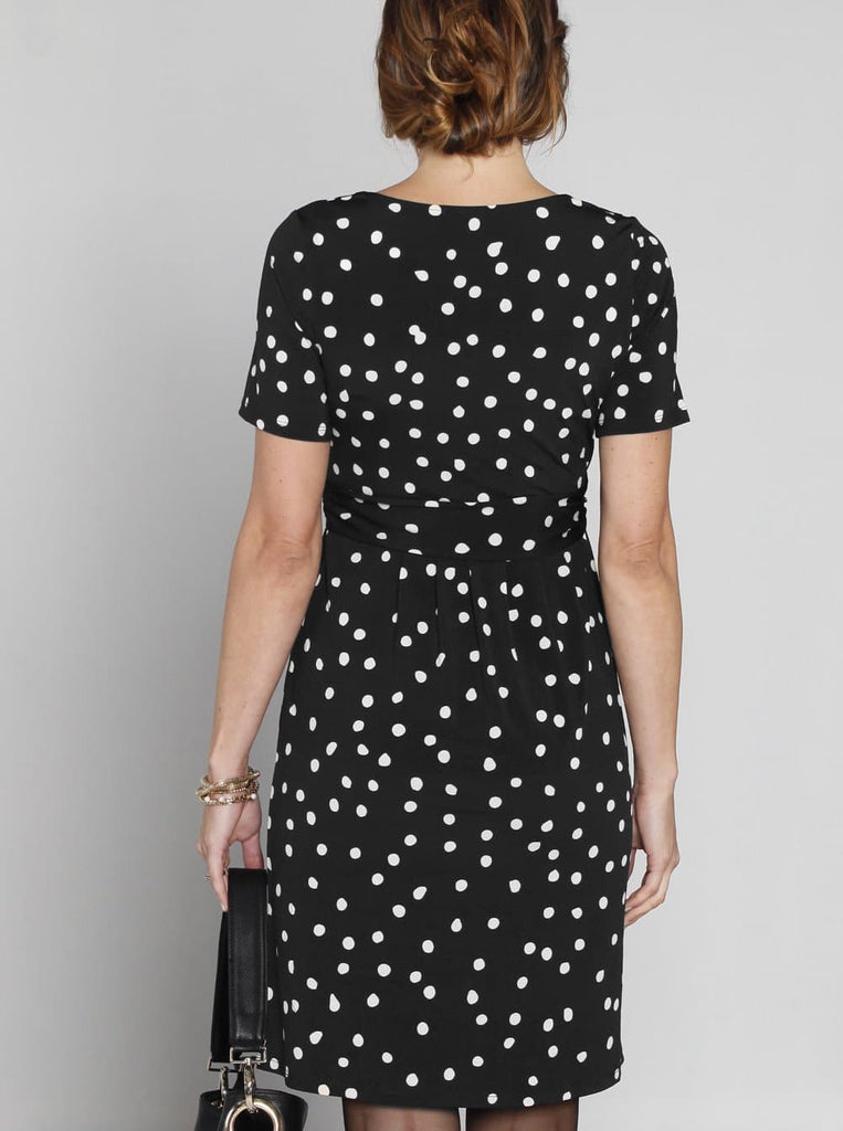 "Angel Maternity ""Busy Mummy"" Nursing Dress in Black & White Dots"
