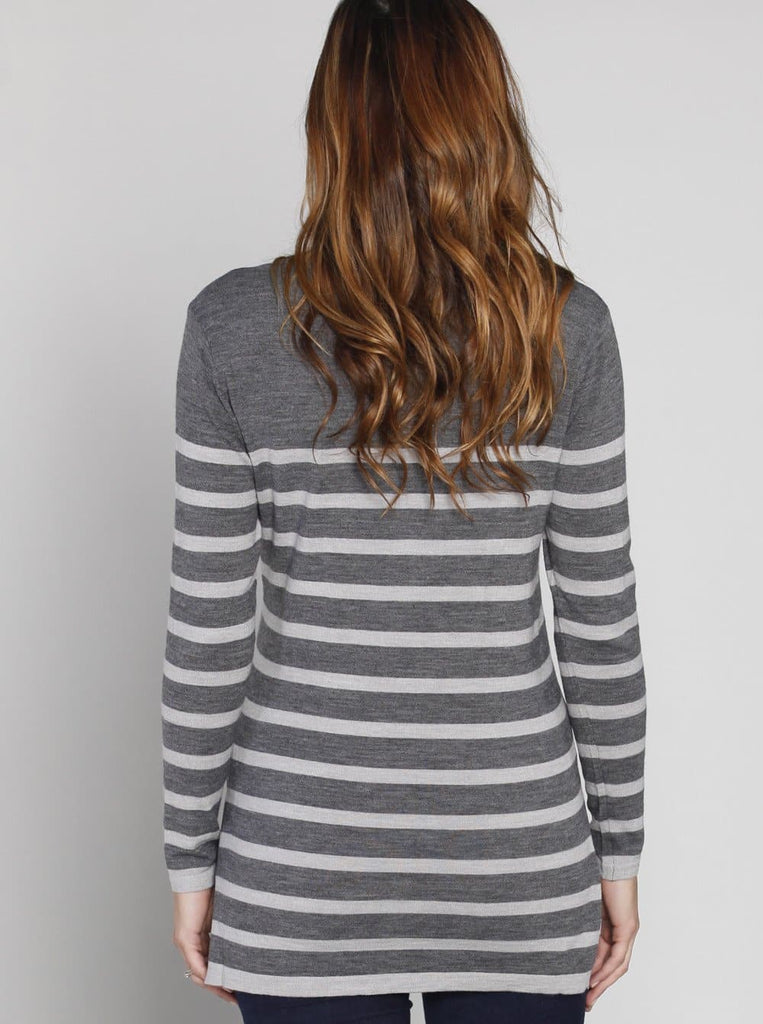 Angel Maternity Lightweight Knitted Wool Top - Grey Stripes