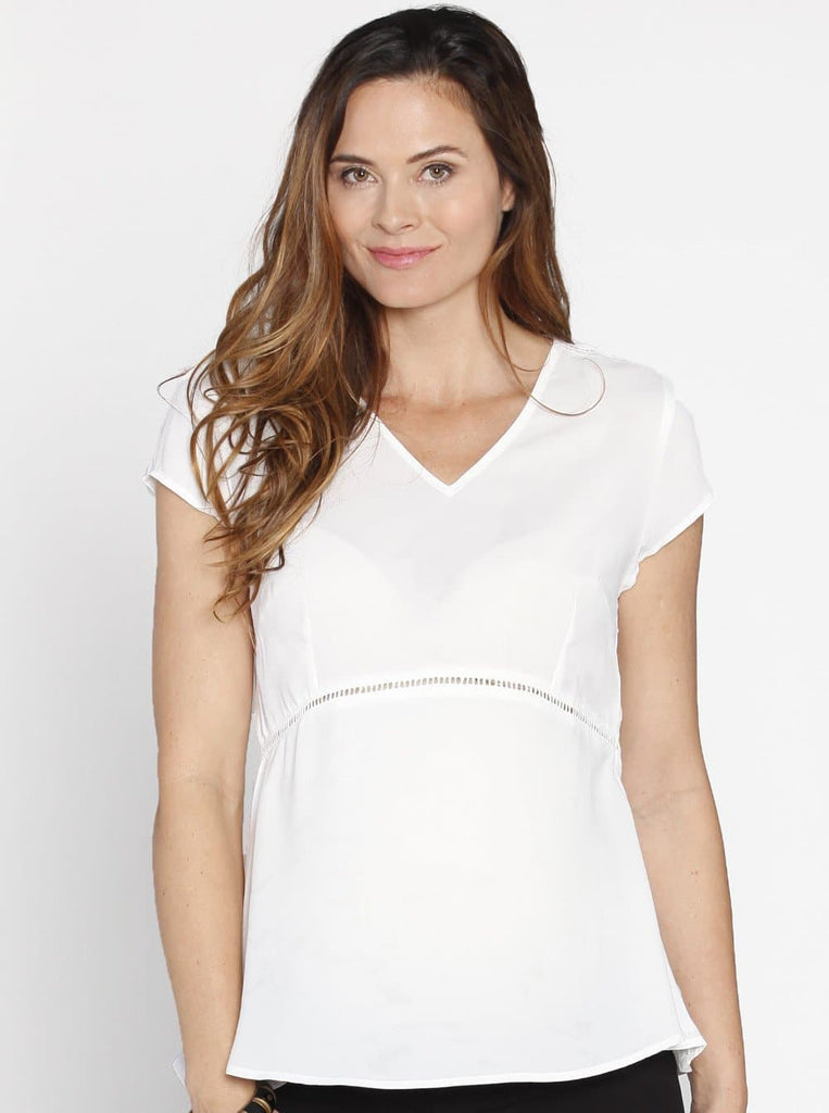 Maternity Dressy Short Sleeve Chiffon Top - Black/ White