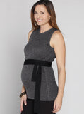 Angel Maternity Sleeveless Knitted Top with Black Tie Waist - Grey
