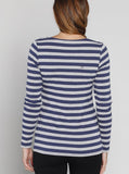 Angel Maternity Cotton Long Sleeve Nursing Top - Blue or Black Stripes