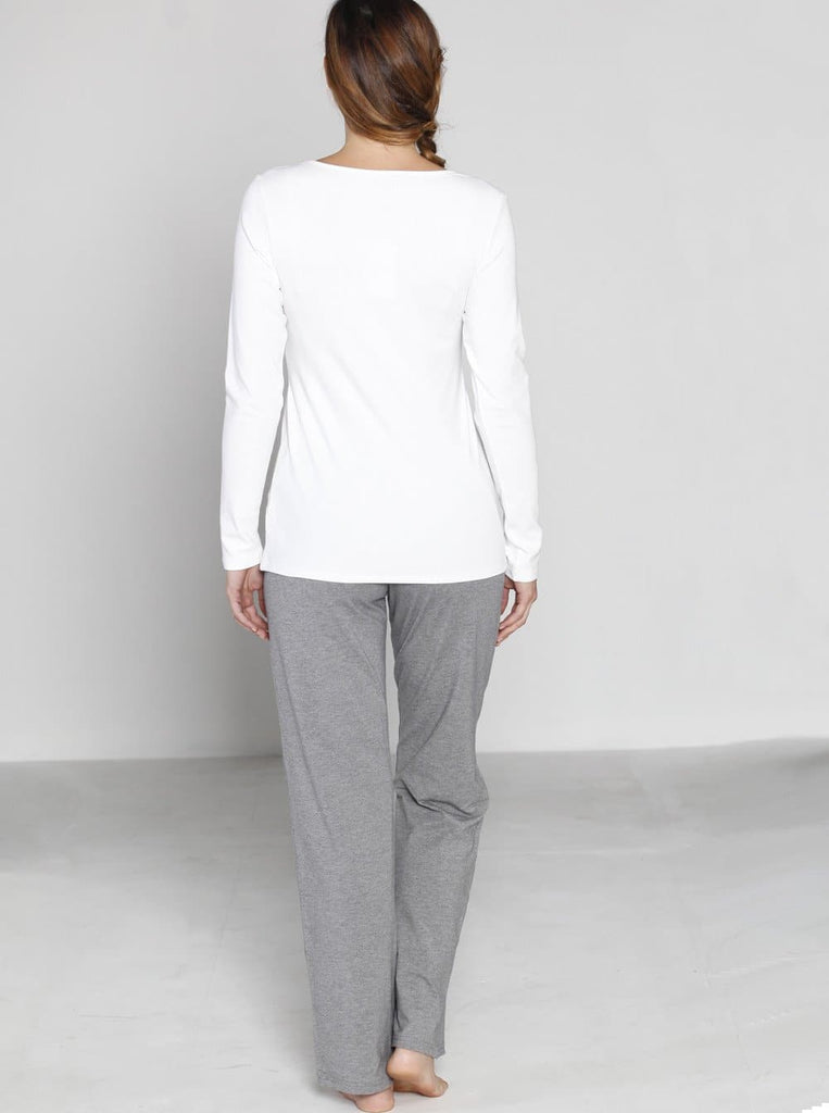 Angel Maternity Long Sleeve Nursing Top and Lounge Pants Set - White & Grey