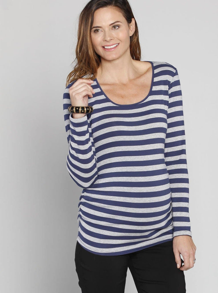 Angel Maternity Long Sleeve Tee with Side Gathers - Stripes/ Plain Black