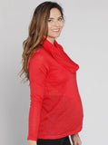 Angel Maternity Petal Front Layered Knitted Top - Red Watermelon