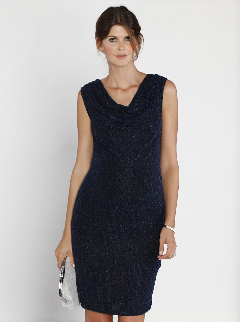 Maternity Cowl Neckline Sparkly Party Dress - Navy - Angel Maternity - Maternity clothes - shop online