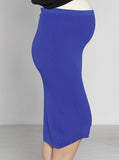 Angel Maternity Soft Mid Length Ribbed Skirt - Cobalt Blue