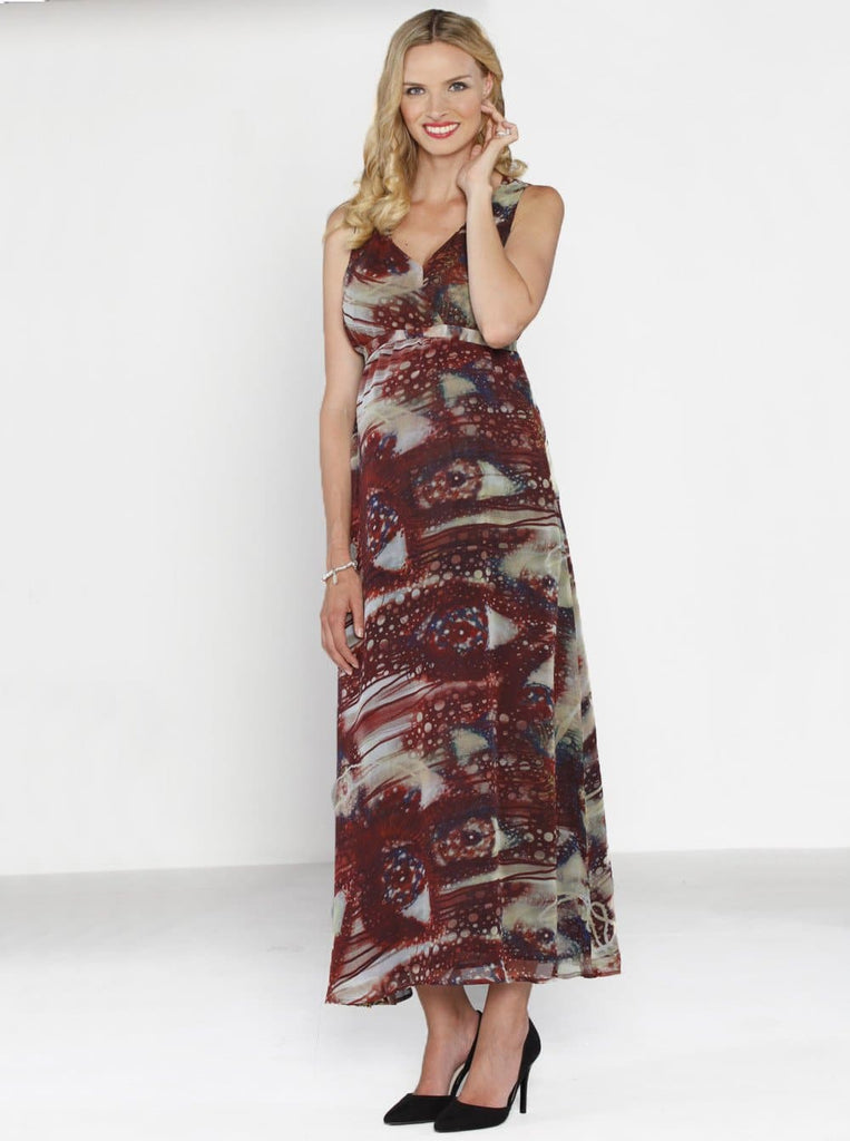 Angel Maternity Party Maxi Dress - Midnight Red Print